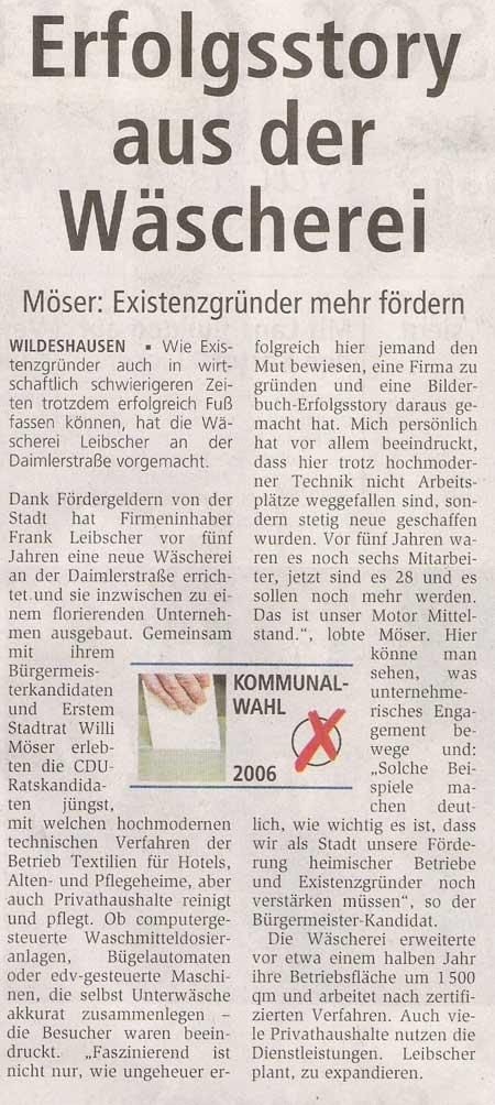 Erfolgsstory aus der WäschereiMöser: Existenzgründer mehr fördernArtikel vom 29.07.2006 (WZ)