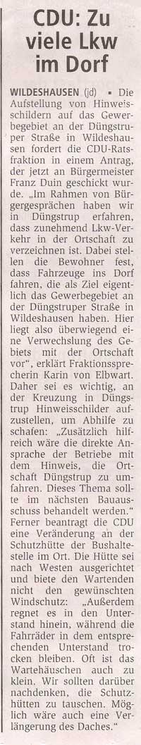 CDU: Zu viele LKW im DorfDüngstrup: Die Aufstellung von Hinweisschildern...Artikel vom 23.08.2006 (WZ)