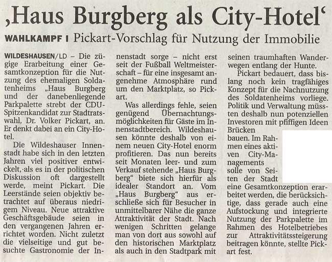 'Haus Burgberg als City - Hotel'Kommunalwahl 2006 / Pickart - Vorschlag für Nutzung der Immobilie...Artikel vom 26.08.2006 (NWZ)
