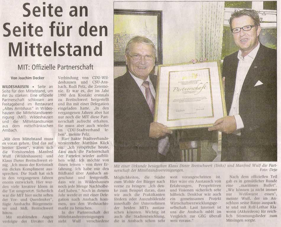 Seite an Seite für den MittelstandMIT: Offizielle Partnerschaft...Artikel vom 28.08.2006 (WZ)