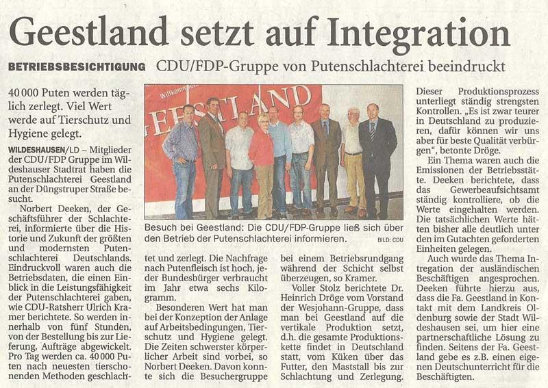 Geestland setzt auf IntegrationBetriebsbesichtigung: CDU/FDP-Gruppe von Putenschlachterei beeindrucktArtikel vom 07.08.2010 (NWZ)