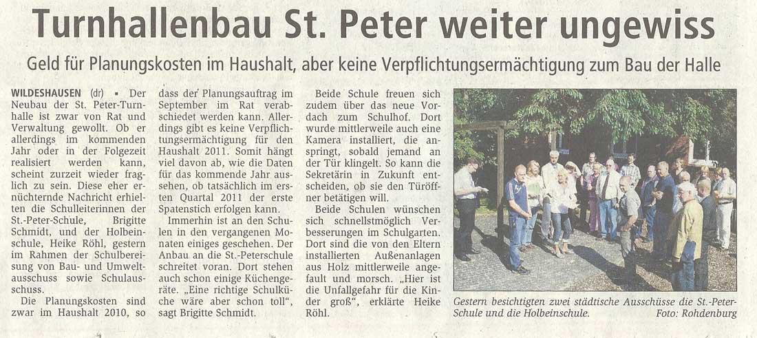 Turnhallenbau St. Peter weiter ungewissGeld für Planungskosten im Haushalt, aber keine Verpflichtungsermächtigung zum Bau der HalleArtikel vom 12.08.2010 (WZ)