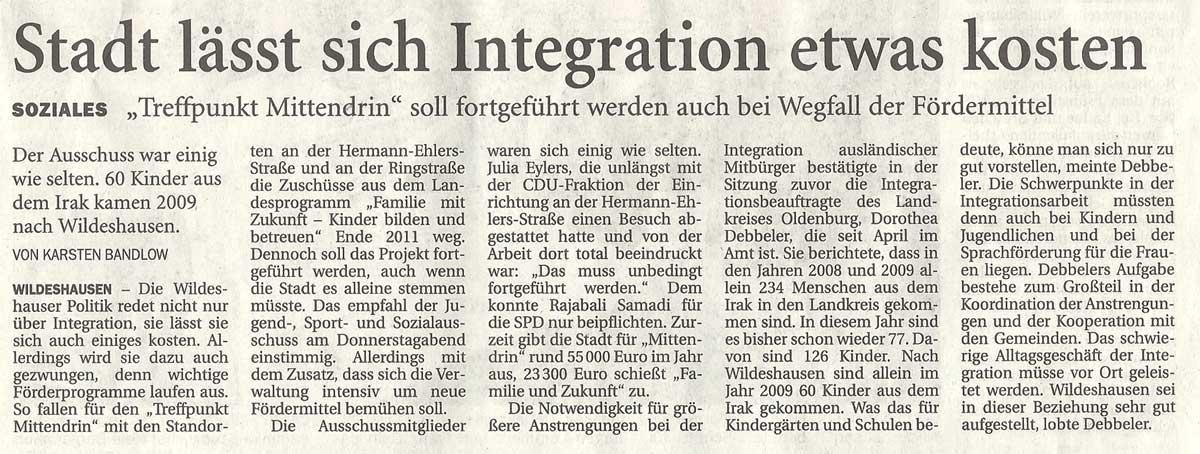 Stadt lässt sich Integration etwas kostenJugend-, Sport- und Sozialausschuss // Soziales: 'Treffpunkt Mittendrin' soll fortgeführt werden auch bei Wegfall der FördermittelArtikel vom 13.08.2010 (NWZ)