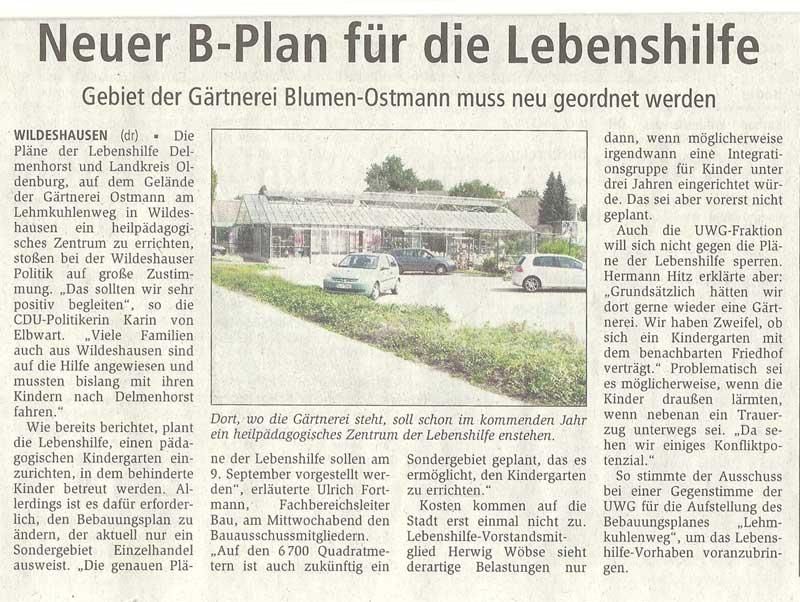 Neuer B-Plan für die LebenshilfeBau- u. Umweltausschuss // Gebiet der Gärtnerei Blumen-Ostmann muss neu geordnet werdenArtikel vom 13.08.2010 (WZ)