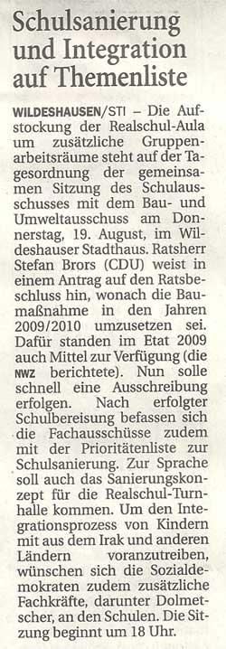 Schulsanierung und Integration auf ThemenlisteBau- u. Umweltausschuss // Die Aufstockung der Realschul - Aula...Artikel vom 17.08.2010 (NWZ)