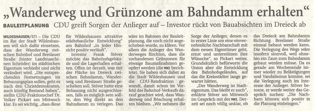 'Wanderweg und Grünzone am Bahndamm erhalten'Bauleitplanung: CDU greift Sorgen der Anlieger auf - Investor rückt von Bauabsichten im Dreieck abArtikel vom 19.08.2010 (NWZ)