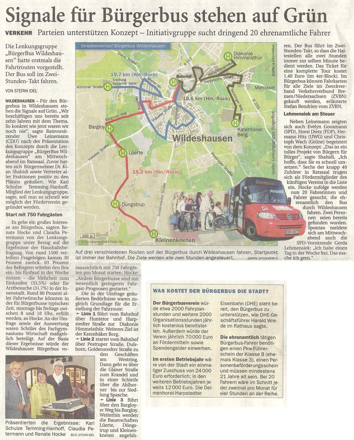 Signale für Bürgerbus stehen auf GrünVerkehr: Parteien unterstützen Konzept - Initiativgruppe sucht dringend 20 ehrenamtliche FahrerArtikel vom 20.08.2010 (NWZ)