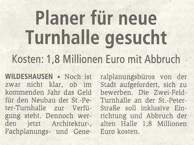 Planer für neue Turnhalle gesuchtKosten: 1,8 Millionen Euro mit AbbruchArtikel vom 20.08.2010 (WZ)