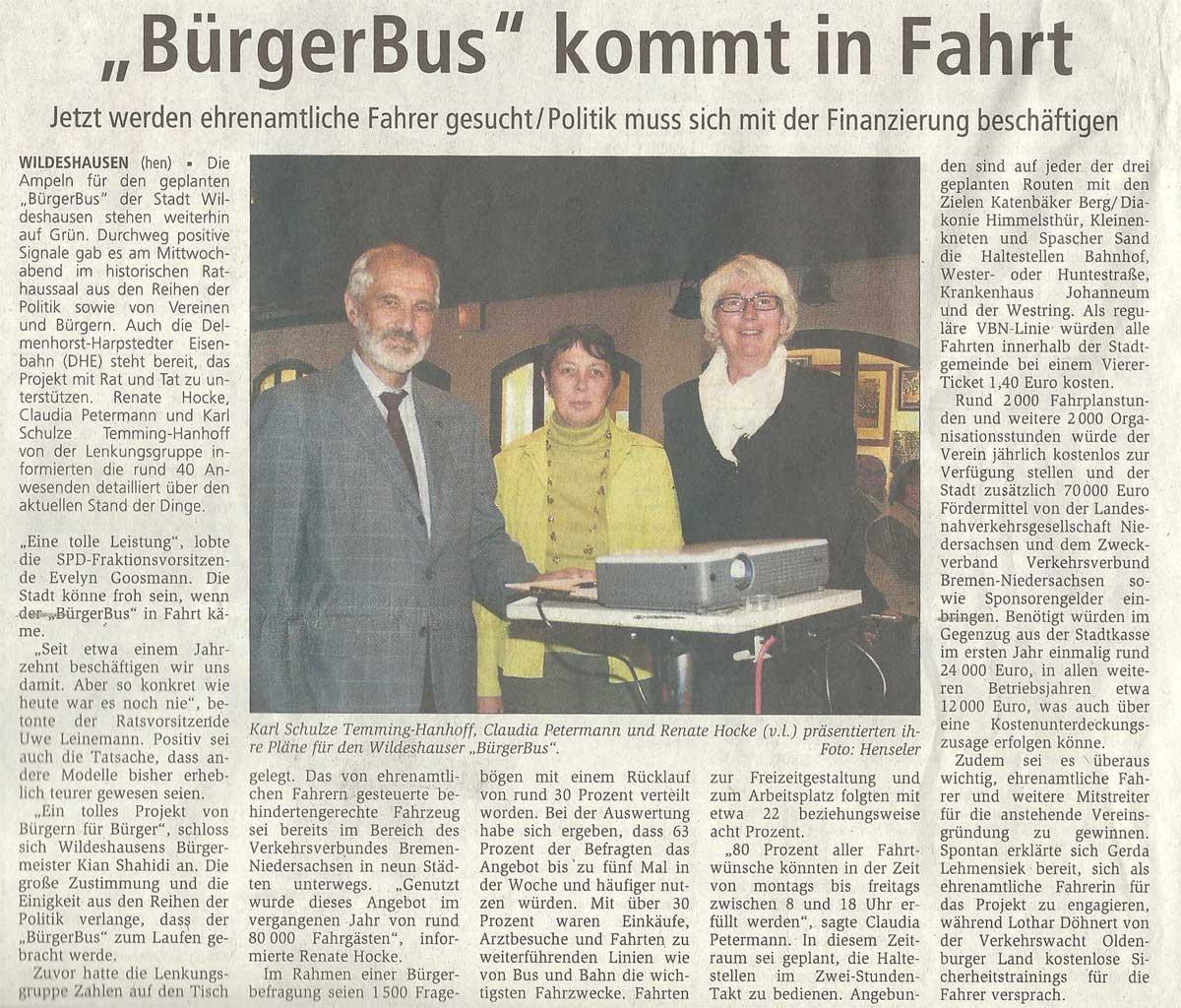 'Bürgerbus' kommt in FahrtJetzt werden ehrenamtliche Fahrer gesucht / Politik muss sich mit der Finanzierung beschäftigenArtikel vom 20.08.2010 (WZ)