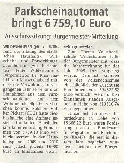 Parkscheinautomat bringt 6759,10 EuroHaushalts-, Wirtschafts- u. Entwicklungsausschuss // Bürgermeister-MitteilungArtikel vom 10.09.2010 (WZ)