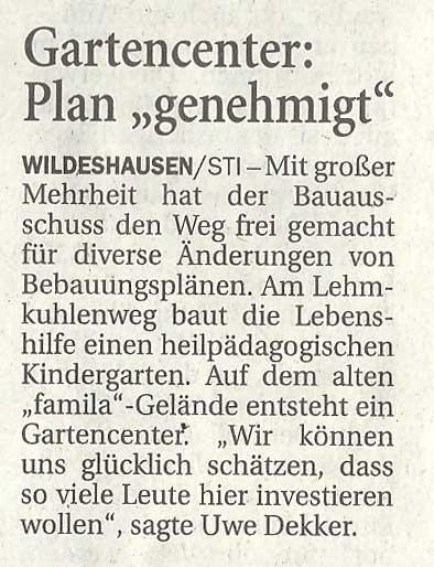 Gartencenter: Plan 'genehmigt'Bau- u. Umweltausschuss // Mit großer Mehrheit...Artikel vom 10.09.2010 (NWZ)