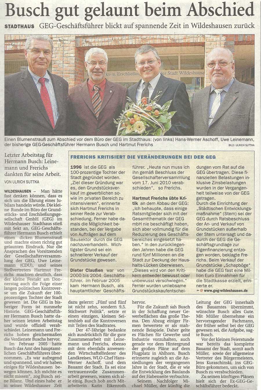 Busch gut gelaunt beim AbschiedStadthaus: GEG-Geschäftsführer blickt auf spannende Zeit in Wildeshausen zurückArtikel vom 01.10.2010 (NWZ)