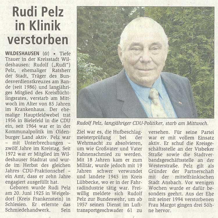 Rudi Pelz in Klinik verstorbenTiefe Trauer in der Kreisstadt...Artikel vom 01.10.2010 (WZ)