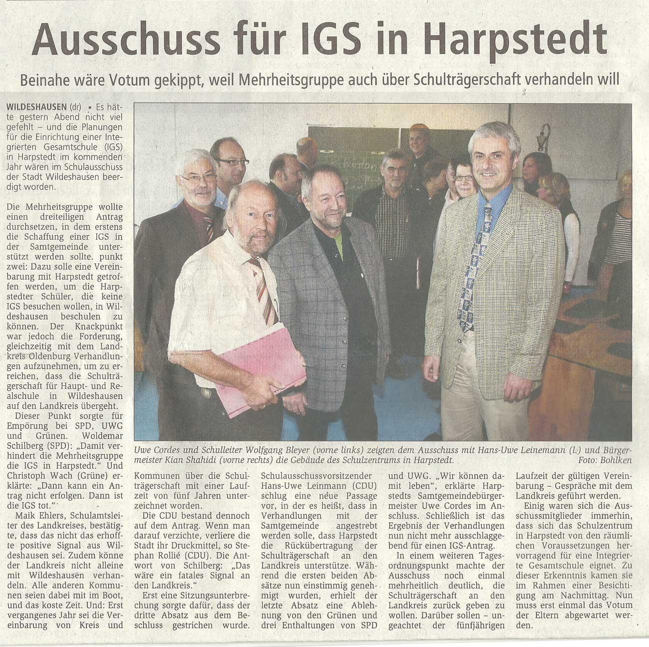 Ausschuss für IGS in HarpstedtSchulausschuss // Beinahe wäre Votum gekippt, weil Mehrheitsgruppe auch über Schulträgerschaft verhandeln willArtikel vom 06.10.2010 (WZ)