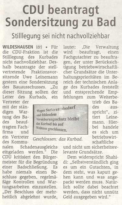 CDU beantragt Sondersitzung zu BadStilllegung sei nicht nachvollziehbarArtikel vom 13.10.2010 (WZ)