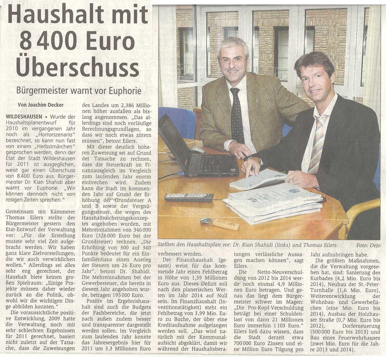 Haushalt mit 8400 Euro ÜberschussBürgermeister warnt vor EuphorieArtikel vom 16.10.2010 (WZ)