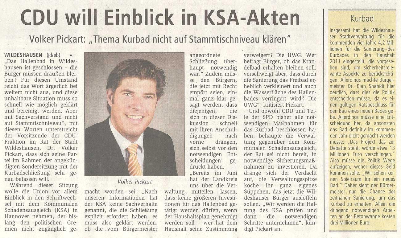 CDU will Einblick in KSA-AktenVolker Pickart: 'Thema Kurbad nicht auf Stammtischniveau klären'Artikel vom 16.10.2010 (WZ)
