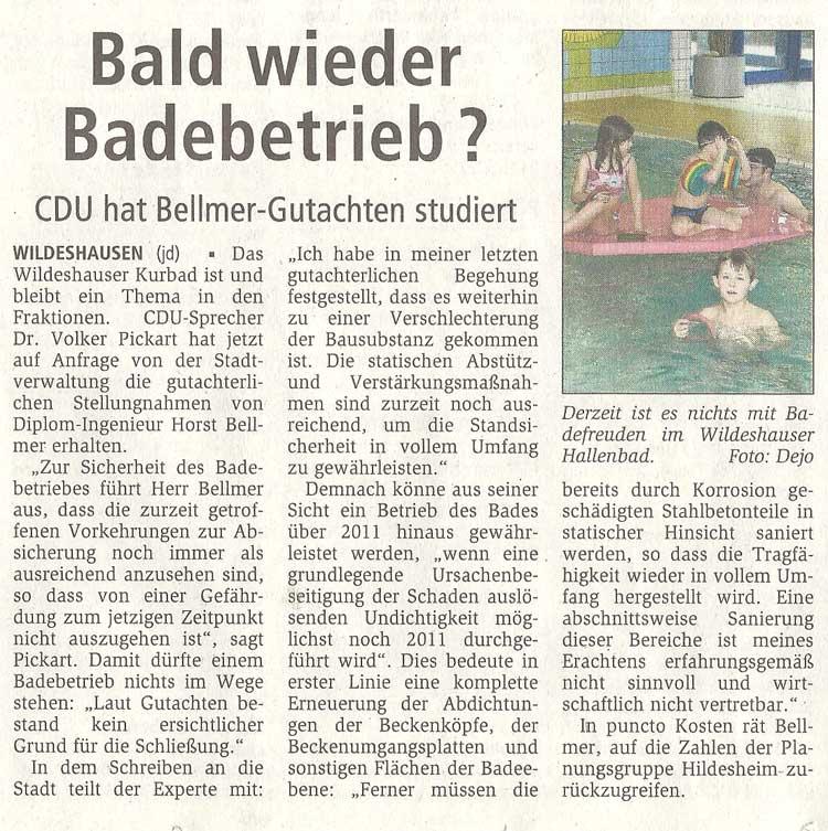 Bald wieder Badebetrieb?CDU hat Bellmer-Gutachten studiertArtikel vom 22.10.2010 (WZ)