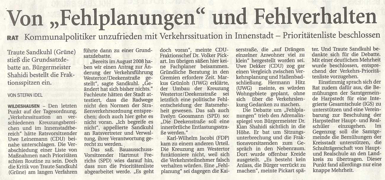 Von 'Fehlplanungen' und FehlverhaltenRat: Kommunalpolitiker unzufrieden mit Verkehrssituation in Innenstadt - Prioritätenliste beschlossenArtikel vom 30.10.2010 (NWZ)