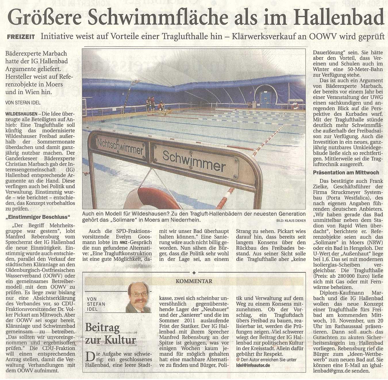 Größere Schwimmfläche als im HallenbadFreizeit: Initiative weist auf Vorteile einer Traglufthalle hin - Klärwerksverkauf an OOWV wird geprüftArtikel vom 04.11.2010 (NWZ)