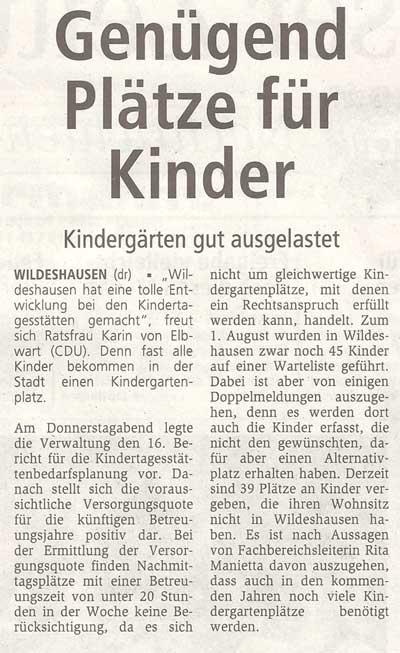 Genügend Plätze für KinderKindergärten gut ausgelastetArtikel vom 06.11.2010 (WZ)
