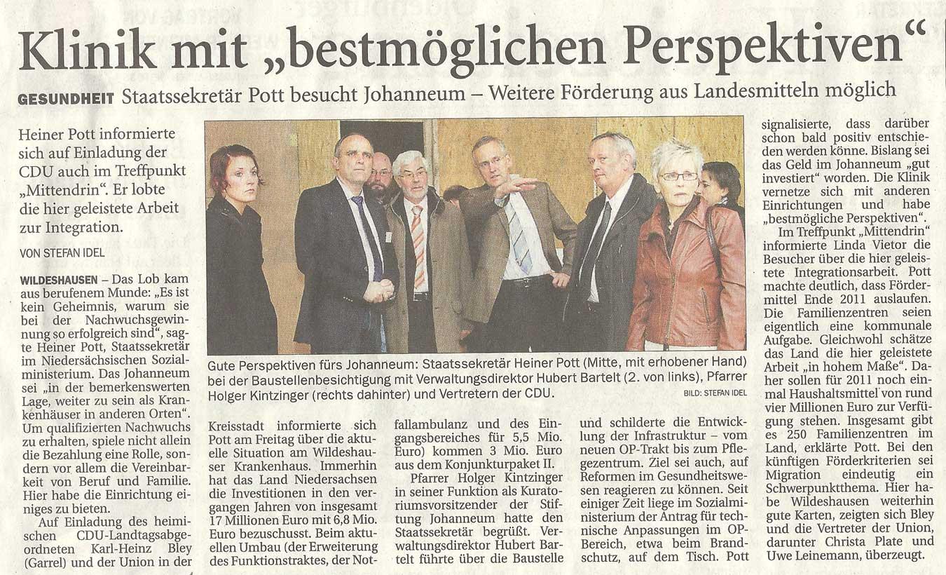 Klinik mit 'bestmöglichen Perspektiven'Gesundheit: Staatssekretär Pott besucht Johanneum - Weitere Förderung aus Landesmitteln möglichArtikel vom 20.11.2010 (NWZ)