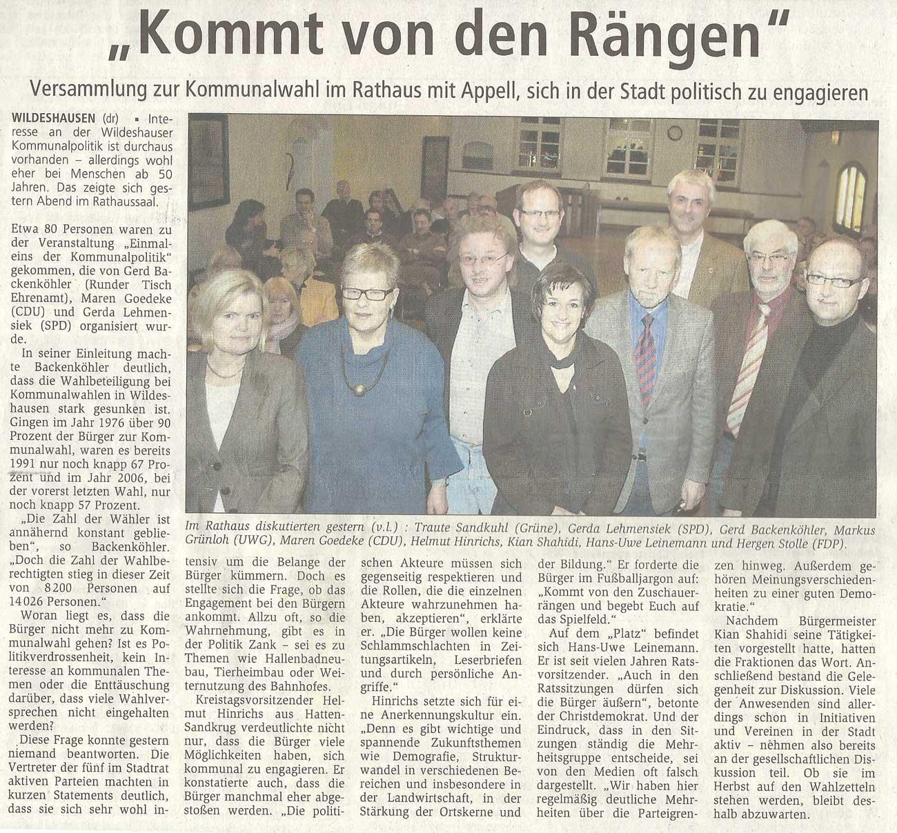 'Kommt von den Rängen'Versammlung zur Kommunalwahl im Rathaus mit Appell, sich in der Stadt politisch zu engagierenArtikel vom 25.11.2010 (WZ)