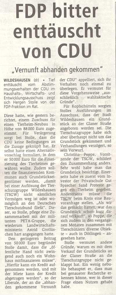 FDP bitter enttäuscht von CDU'Vernunft abhanden gekommen'Artikel vom 27.11.2010 (WZ)