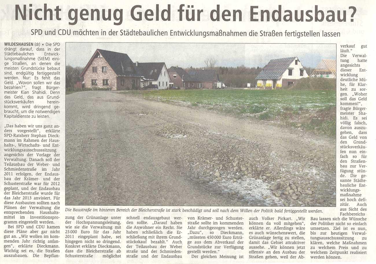 Nicht genug Geld für den Endausbau?SPD und CDU möchten in den Städtebaulichen Entwicklungsmaßnahmen die Straßen fertigstellen lassenArtikel vom 01.12.2010 (WZ)