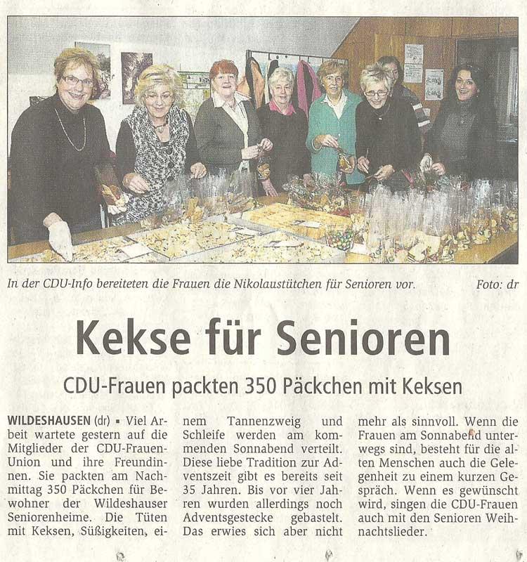 Kekse für SeniorenCDU-Frauen packten 350 Päckchen mit KeksenArtikel vom 02.12.2010 (WZ)