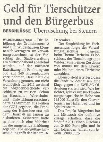 Geld für Tierschützer und den BürgerbusVerwaltungsausschuss// Beschlüsse: Überraschung bei SteuernArtikel vom 03.12.2010 (NWZ)
