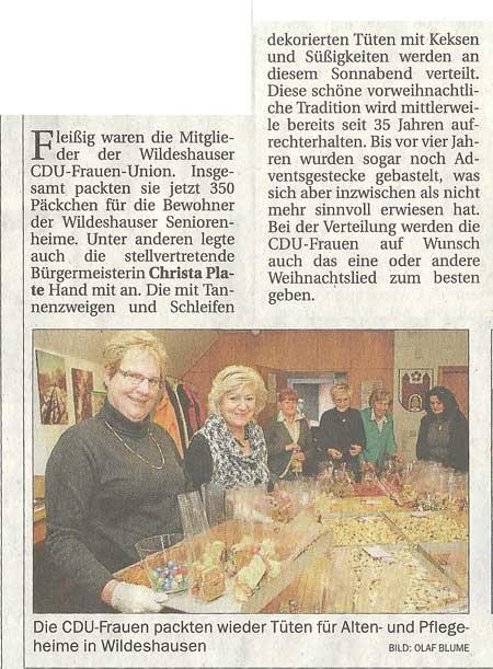 CDU-Frauen-Union packten PäckchenDie CDU-Frauen packten wieder Tüten für Alten- und Pflegeheime in WildeshausenArtikel vom 04.12.2010 (NWZ)