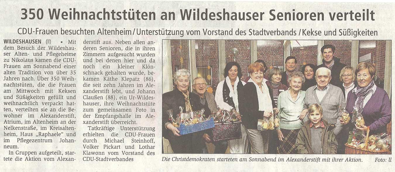 350 Weihnachtstüten an Wildeshauser Senioren verteiltCDU-Frauen besuchten Altenheim / Unterstützung vom Vorstand des Stadtverbands / Kekse und SüßigkeitenArtikel vom 06.12.2010 (WZ)
