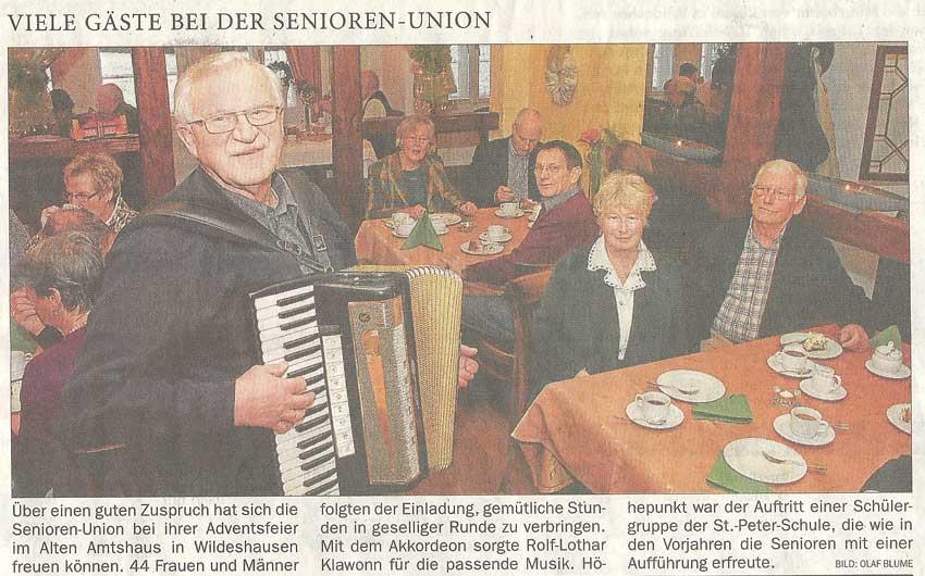 Viele Gäste bei der Senioren-UnionAdventsfeier // Über einen guten Zuspruch...Artikel vom 09.12.2010 (NWZ)