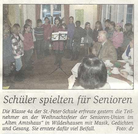 Schüler spielten für SeniorenAdventsfeier der Senioren-Union // Die Klasse 4a der St.-Peter-Schule erfreute...Artikel vom 09.12.2010 (WZ)