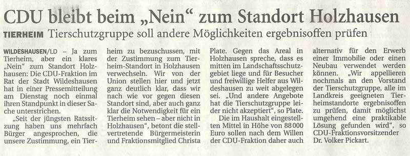 CDU bleibt beim 'Nein' zum Standort HolzhausenTierheim: Tierschutzgruppe soll andere Möglichkeiten ergebnisoffen prüfenArtikel vom 15.12.2010 (NWZ)