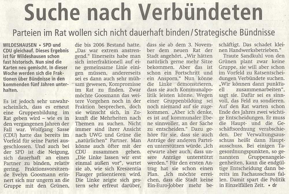 Suche nach VerbündetenParteien im Rat wollen sich nicht dauerhaft binden / Strategische BündnisseArtikel vom 13.09.2011 (WZ)
