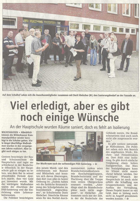 Viel erledigt, aber es gibt noch einige WünscheAn der Hauptschule wurden Räume saniert, doch es fehlt an IsolierungArtikel vom 16.09.2011 (WZ)