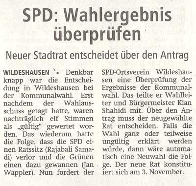 SPD: Wahlergebnis überprüfenNeuer Stadtrat entscheidet über den AntragArtikel vom 22.09.2011 (WZ)