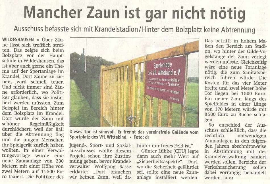 Mancher Zaun ist gar nicht nötigAusschuss befasste sich mit Krandelstadion / Hinter dem Bolzplatz keine AbtrennungArtikel vom 30.09.2011 (WZ)