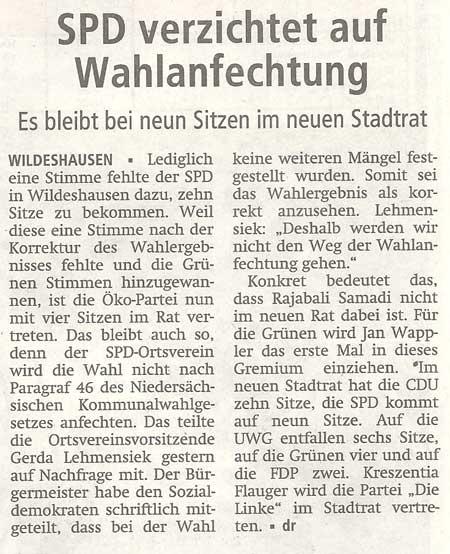 SPD verzichtet auf WahlanfechtungEs bleibt bei neun Sitzen im neuen StadtratArtikel vom 30.09.2011 (WZ)