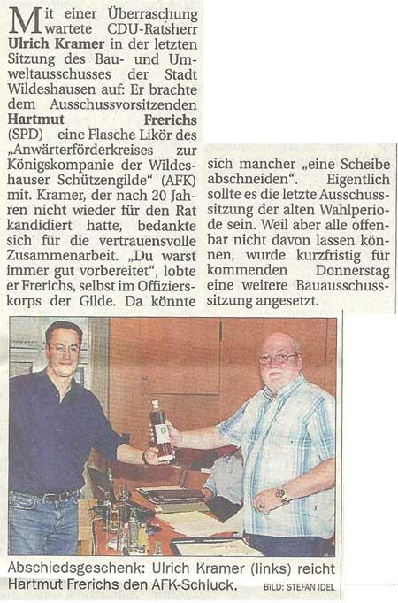 Bau- und UmweltausschussMit einer Überraschung wartet CDU-Ratsherr Ulrich Kramer in der letzten...Artikel vom 01.10.2011 (NWZ)