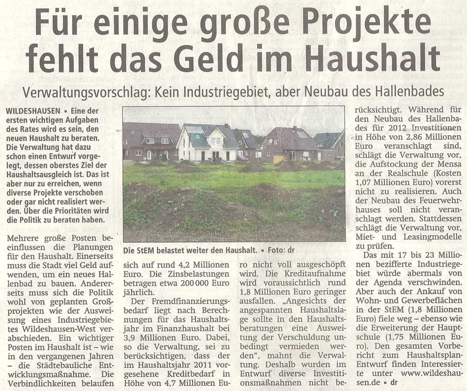 Für einige große Projekte fehlt das Geld im HaushaltVerwaltungsvorschlag: Kein Industriegebiet, aber Neubau des HallenbadesArtikel vom 06.10.2011 (WZ)