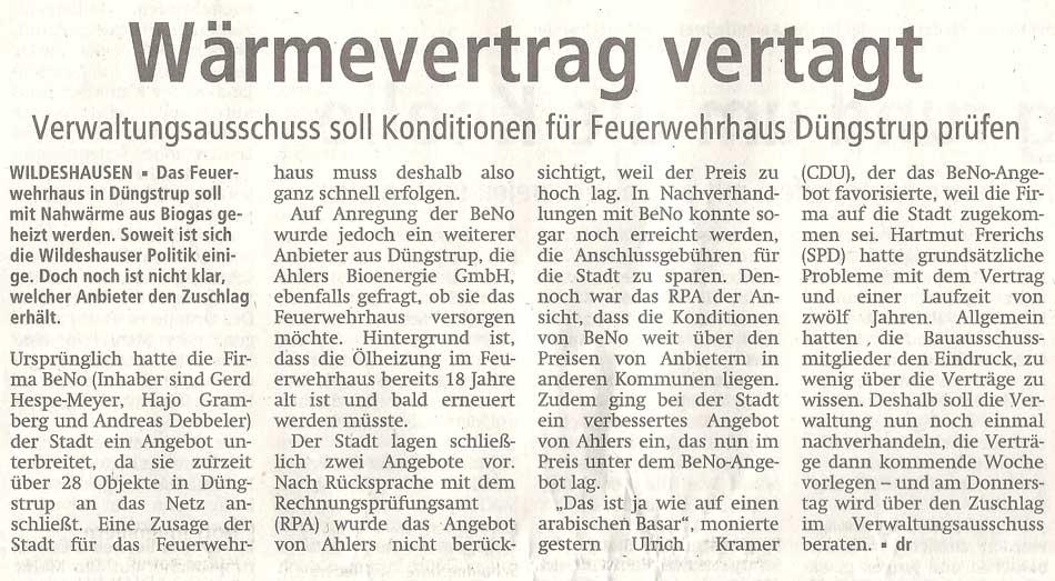 Wärmevertrag vertagtVerwaltungsausschuss soll Konditionen für Feuerwehrhaus Düngstrup prüfenArtikel vom 07.10.2011 (WZ)