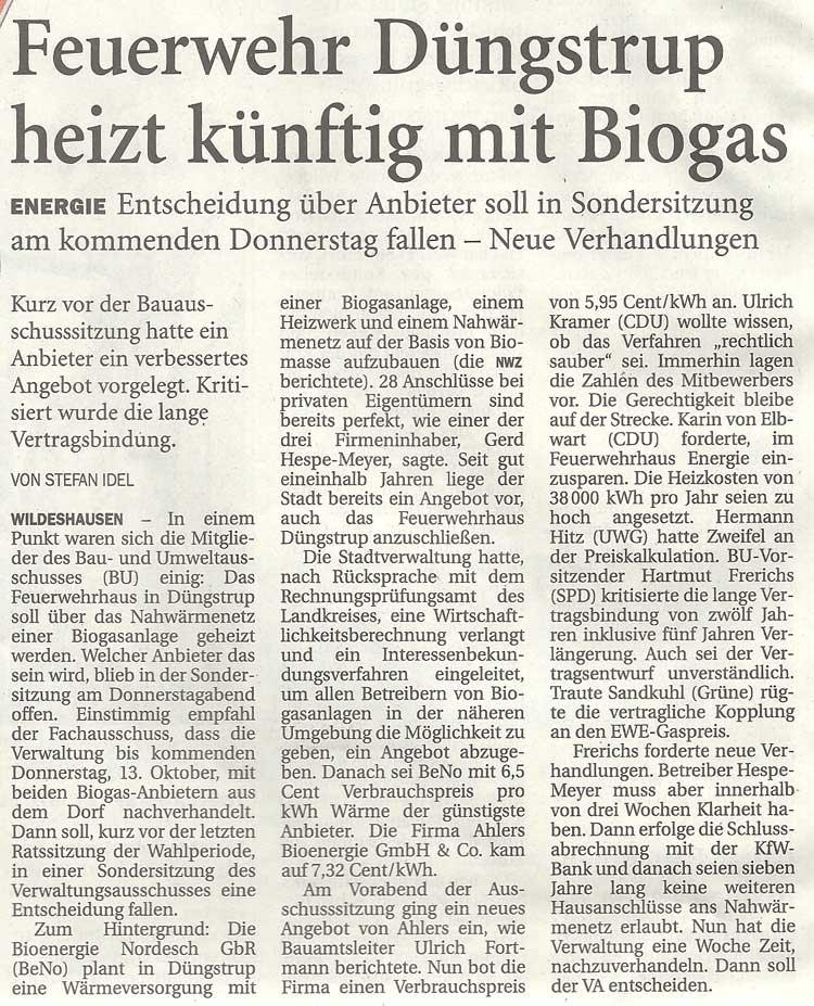 Feuerwehr Düngstrup heizt künftig mit BiogasEnergie: Entscheidung über Anbieter soll in Sondersitzung am kommenden Donnerstag fallen - Neue VerhandlungenArtikel vom 07.10.2011 (NWZ)