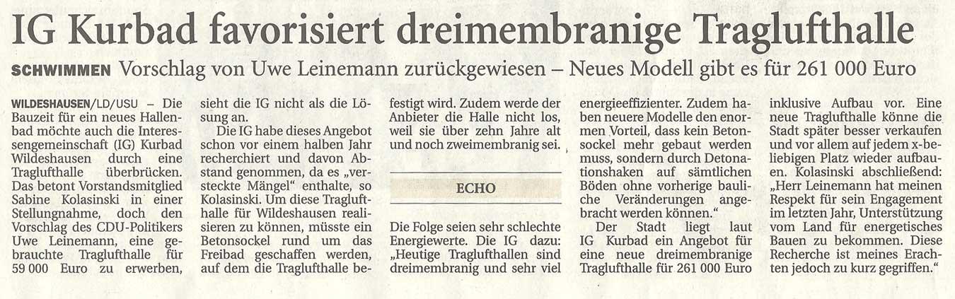 IG Kurbad favorisiert dreimembranige TraglufthalleSchwimmen: Vorschlag von Uwe Leinemann zurückgewiesen - Neues Modell gibt es für 261 000 EuroArtikel vom 31.10.2011 (NWZ)
