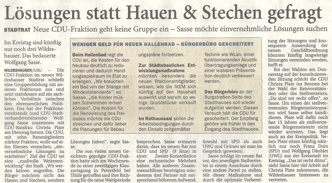 Lösungen statt Hauen & Stechen gefragtStadtrat: Neue CDU-Fraktion geht keine Gruppe ein - Sasse möchte einvernehmliche Lösungen suchenArtikel vom 02.11.2011 (NWZ)