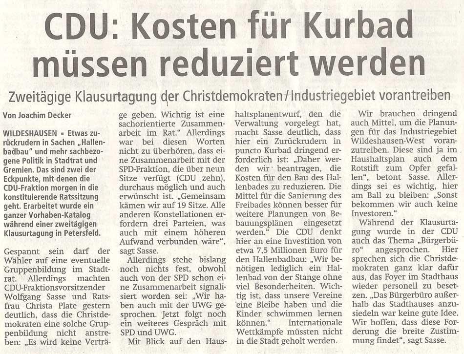 CDU: Kosten für Kurbad müssen reduziert werdenZweitägige Klausurtagung der Christdemokraten / Industriegebiet vorantreibenArtikel vom 02.11.2011 (WZ)