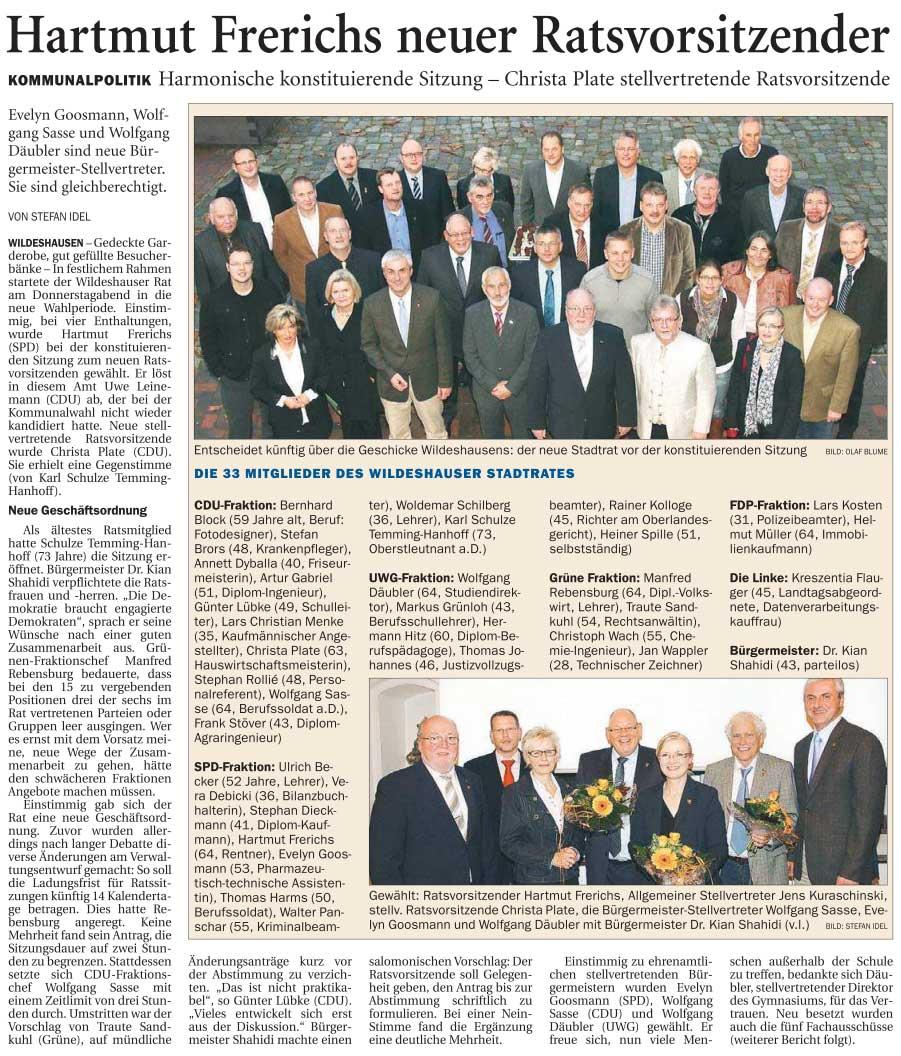 Hartmut Frerichs neuer RatsvorsitzenderKommunalpolitik: Harmonische konstituierende Sitzung - Christa Plate stellvertretende RatsvorsitzendeArtikel vom 04.11.2011 (NWZ)