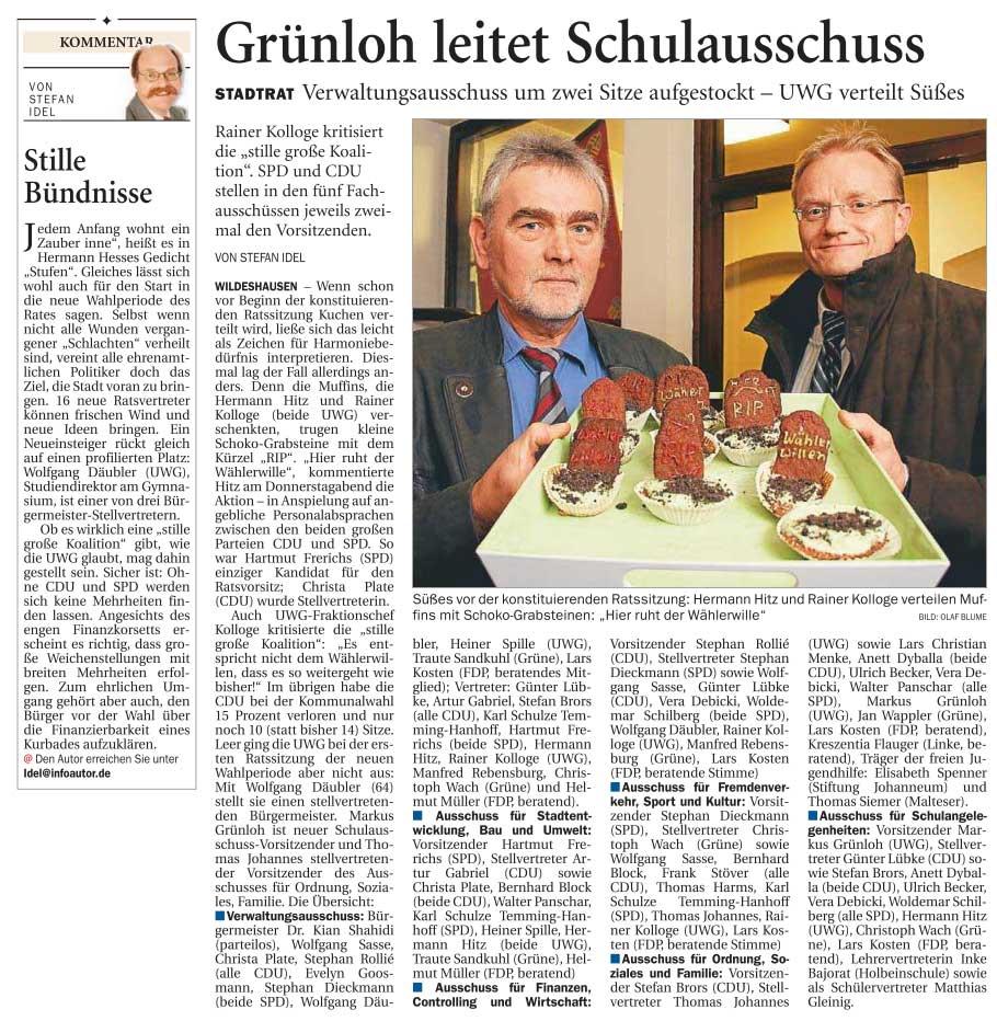 Grünloh leitet SchulausschussStadtrat: Verwaltungsausschuss um zwei Sitze aufgestockt - UWG verteilt SüßesArtikel vom 05.11.2011 (NWZ)